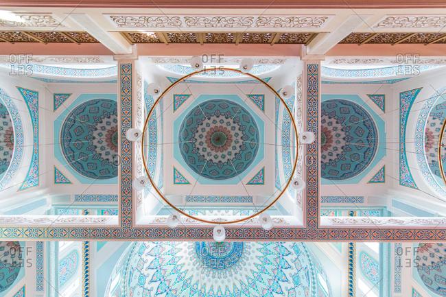 Astana, Kazakhstan - July 18, 2015: Upward view of the domed interior of Nur-Astana Mosque