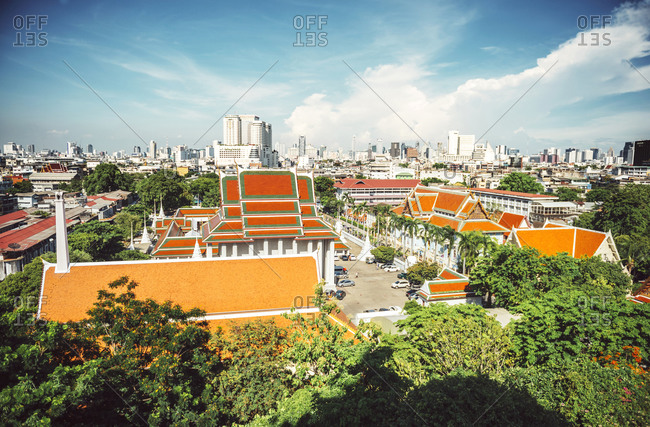 View of Bangkok skyline from Wat Saket temple