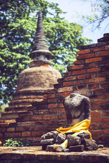 Old Buddha statue in Buddha temple