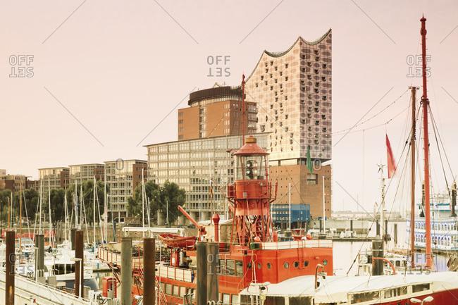 Hamburg, Germany - August 8, 2015: Elbphilharmonie and harbor in morning light, Hamburg