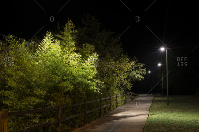 Walkway in a park lighted by street lamps at night, Naron