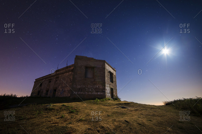 Ruin of a military building at moonlight, Ferrol