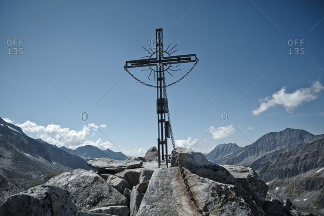 Summit cross on Medelzkogel, Hohe Tauern National Park, East Tyrol