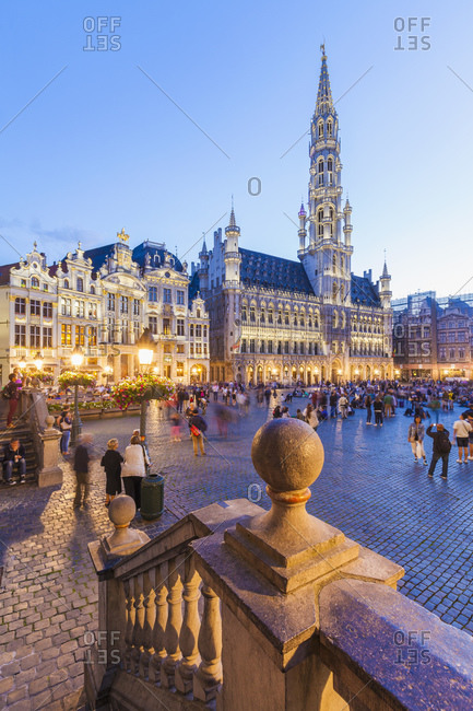 Brussels, Belgium - August 19, 2015: Town hall and Grand Place in the evening, Brussels