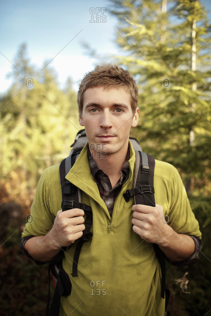 Portrait of a young man on a hike Oregon