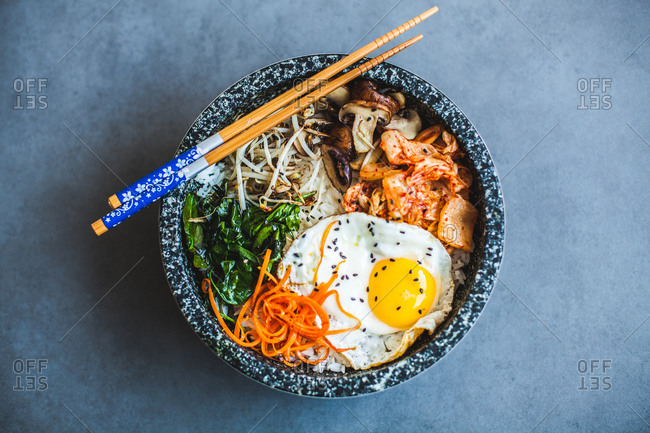 Overhead view of a bowl of bibimbap