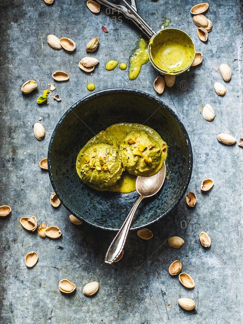 Dish of vegan pistachio cardamom coconut ice cream