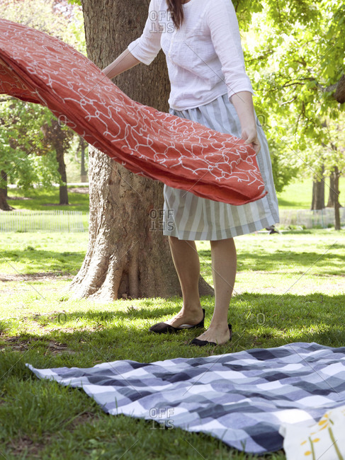 Woman setting up for a picnic in the park