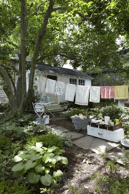 Tea towels hanging in backyard sale