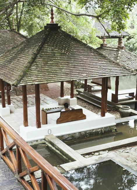 Overview of the open-air reception area at resort, Aturuwella, Bentota, Sri Lanka.