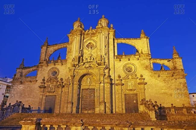 Facade of Jerez de la Frontera Cathedral illuminated at Night, Jerez de la Frontera, Andalucia, Spain