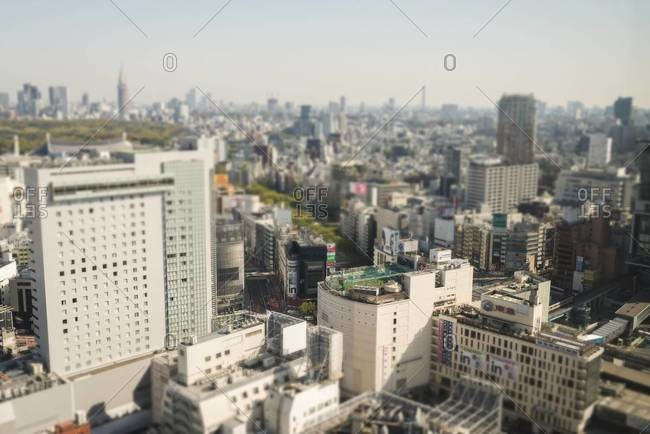 High angle view of Tokyo with soccer field on top of building, viewed from Cerulean Tower Hotel in Shibuya, Tokyo, Japan