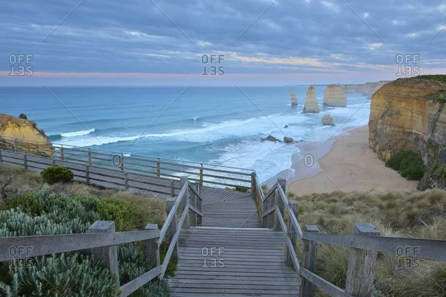 Wooden staircase to viewpoint, The Twelve Apostles, Princetown, Great Ocean Road, Victoria, Australia