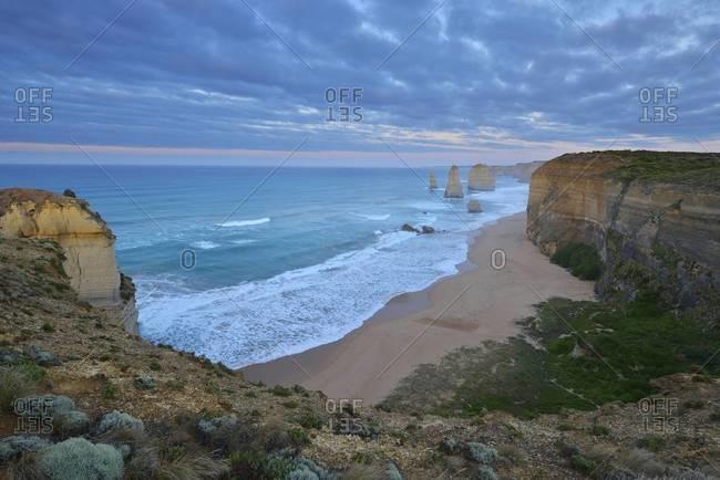 Limestone coastline, The Twelve Apostles, Princetown, Great Ocean Road, Victoria, Australia