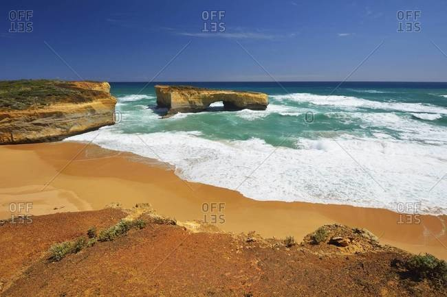 Eroded Limestone Rock in Ocean in Summer, London Arch, Port Campbell National Park, Great Ocean Road, Victoria, Australia