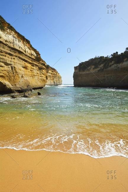 Sea Bay with Sandy Beach, Loch Ard Gorge, Port Campbell National Park, Great Ocean Road, Victoria, Australia