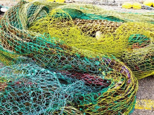 Colorful Fishnets, Cala Ratjada, Majorca, Balearic Islands, Spain