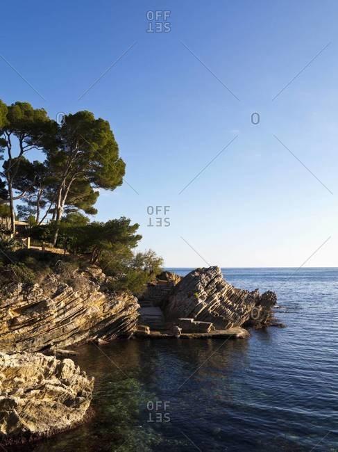 Rocky Shoreline and Bay, Cala Ratjada, Majorca, Balearic Islands, Spain