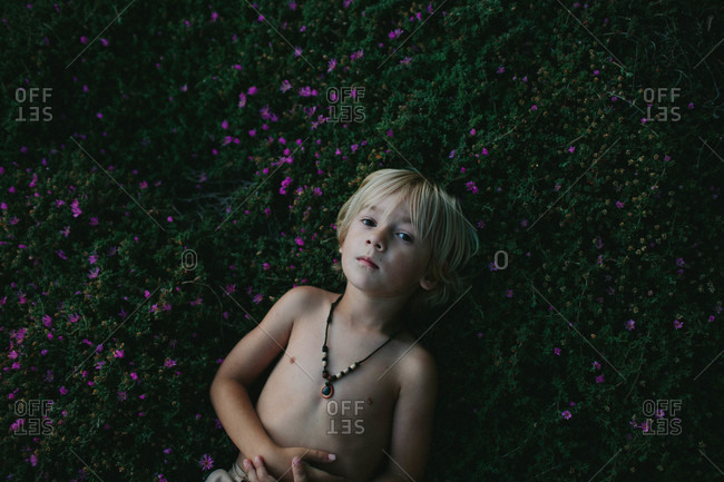 Boy lying in grass with purple flowers
