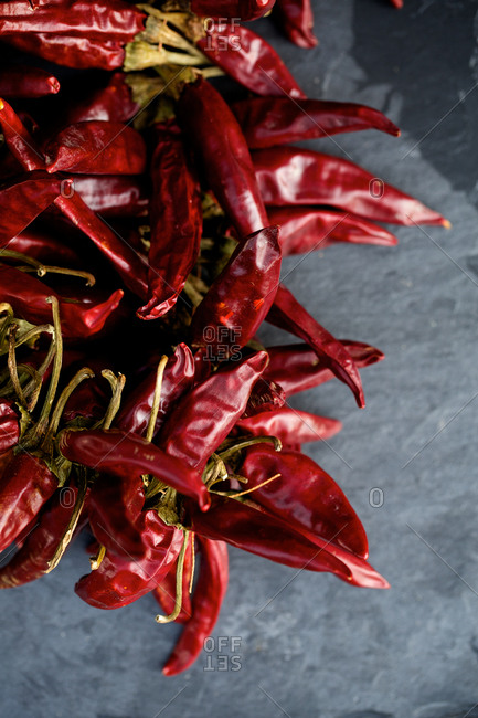 A pile of dried chili peppers