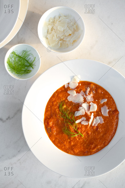 Tomato soup with fennel and parmesan