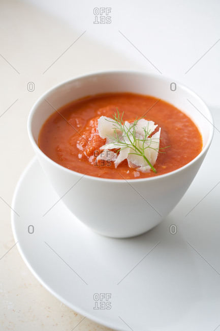 Tomato soup with fennel and shaved parmesan