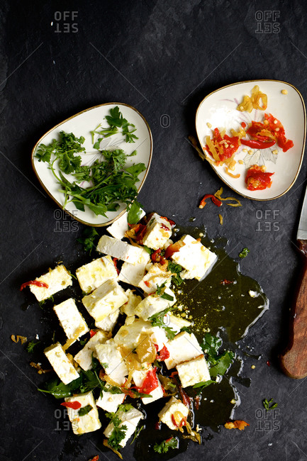 Feta cheese covered in olive oil