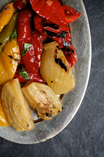 Grilled tomatoes and artichoke hearts