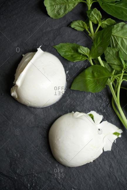 A mozzarella ball with basil