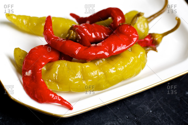 Sun-dried red and yellow chili peppers