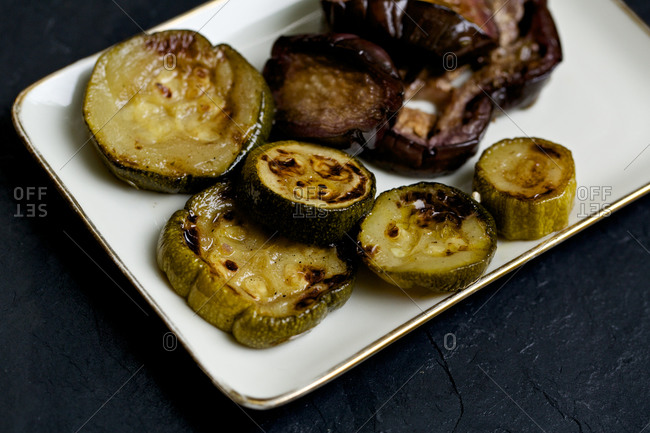 Grilled mushrooms and zucchini