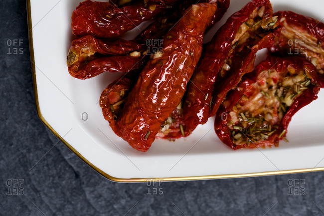 Sun-dried peppers and rosemary