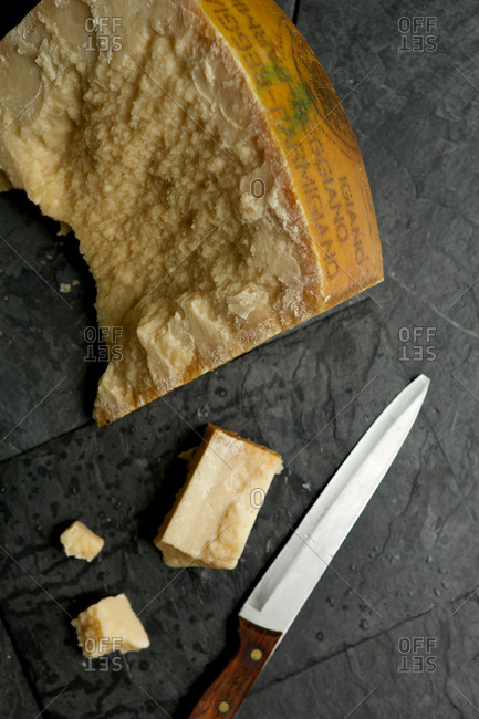 A wedge of parmesan cheese