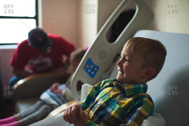 Children in a maternity ward