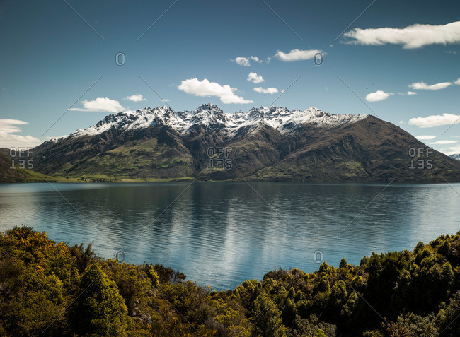 Landscape of Lake Wakatipu near Queenstown in New Zealand