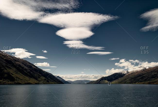 Beautiful clouds over Lake Wakatipu in New Zealand