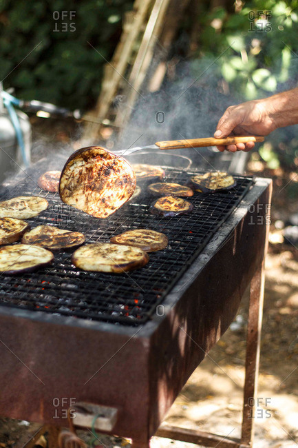 Cooking eggplant on a charcoal grill
