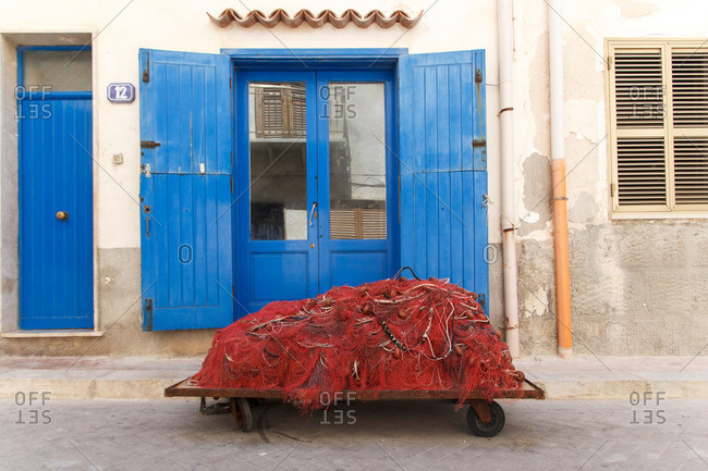 Fishing nets in front of a building