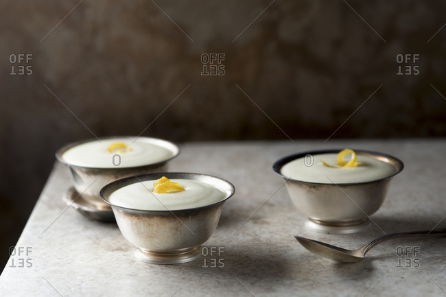 Lemon mousse topped with lemon peel