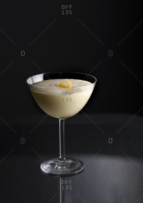 Lemon mousse in a dessert glass