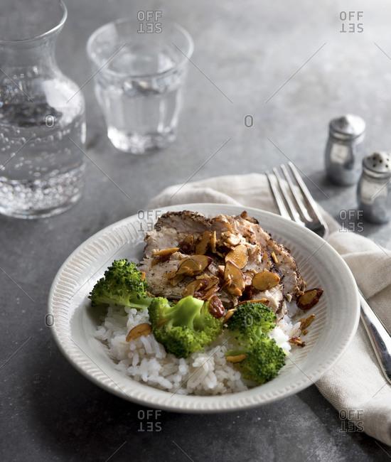 Broccoli, pork and rice in bowl