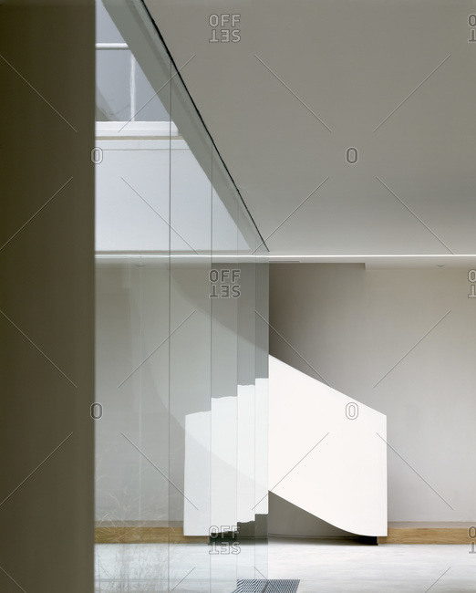Empty corridor and staircase in a modern residence
