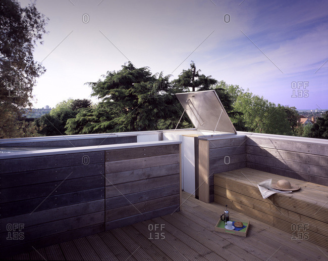 Rooftop deck on a modern house in Wimbledon, London