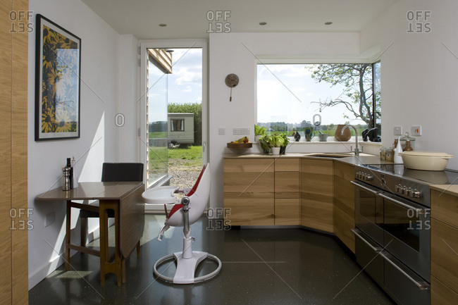 Kitchen of a zero carbon house