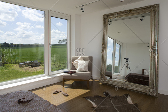 Bedroom mirror and chair in a zero carbon house