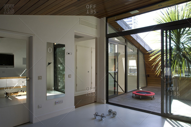Exercise room and patio in a contemporary London home