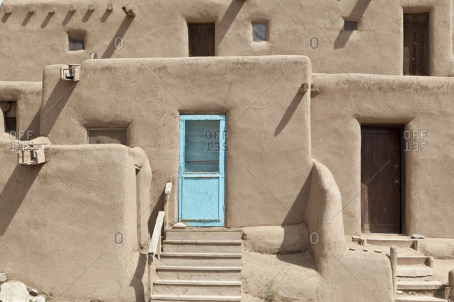 Doorways in traditional adobe houses in Taos Pueblo, New Mexico