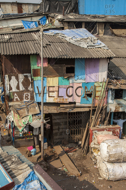Poverty and poor housing at Dharavi in Mumbai, India