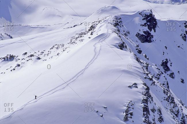Skier Walks Up Piccolo Mtn, Fresh Winter Snow, Whistler, B.C.