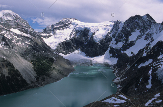 Alpine Lake With Glacier And Mountains Surrounding, Lake Of The Hanging Glaciers, East Kootenays, B.C.